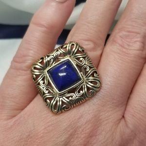 BARSE Blue Lapis Bronze Statement Ring sz7